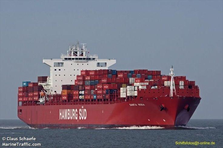 """Buque: """"SANTA ROSA"""". Año de contrucción: 2011. Tipo: Portacontenedores. Propietario y Operador: Hamburg Süd Liner Group. Dimensiones: Eslora 300 m. Manga 48,2 m. Calado 9,8 m. Carga (DWT): 93.398 Tm. Capacidad máxima contenedores TEU: 7.090. Contenedores frigoríficos: 1.365. Motor: MAN-B&W - tipo: 12K98MC-C. Potencia: 68.640 Kw. (92.048 HP). Velocidad máxima: 18 nudos. Distintivo: A8ZS7. IMO: 9430636. Bandera: Liberia."""