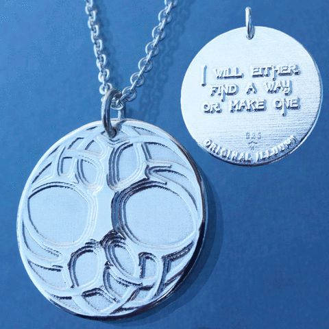 """""""I will either find a way or make one"""", an original Illuumi amulet. If you really want something, you'll find a way. If you don't, you'll find an excuse. Don't find excuses!  Made out of solid sterling silver, and available in different variants such as oxidized or gold plated. Made in Norway, available at www.illuumi.no #proverb #inspirationalquotes #inspiration #quotes #gift #amulet #silver #sølv #inspirasjon #amulett #gave #smykke #ordtak #encouragement #oppmuntring #styrke #treeoflife"""