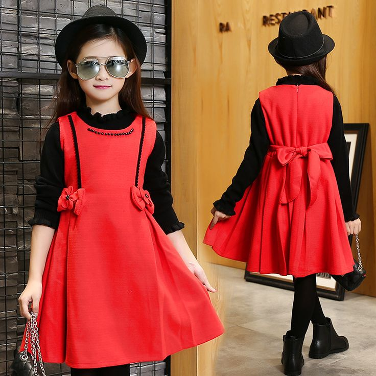 Dress autumn cotton red christmas costumes elegant dresses for girls