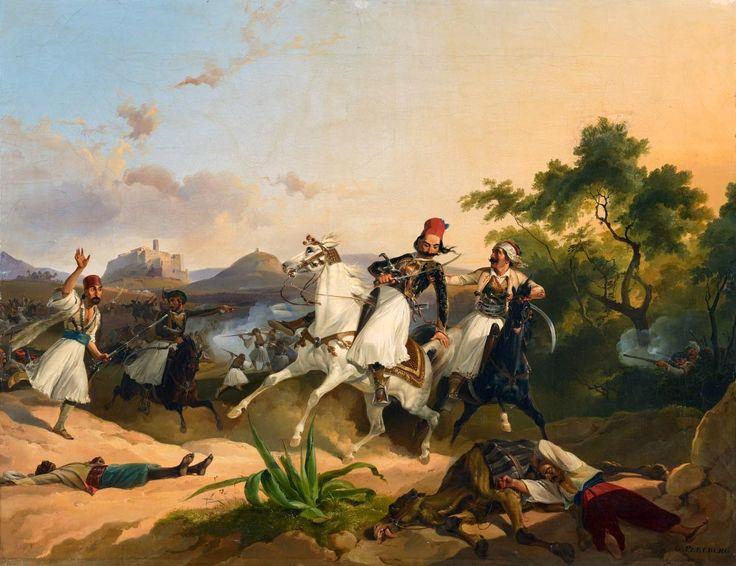 Johann Georg Christian Perlberg (1806-1884)-Palikaren Kampf, Szene aus dem Griechischen Befreiungskrieg,1884