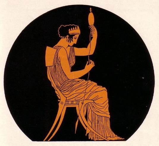 Penelope at her loom - awaiting the return of her lover Odysseus from the wars . Homer . Odyssey .