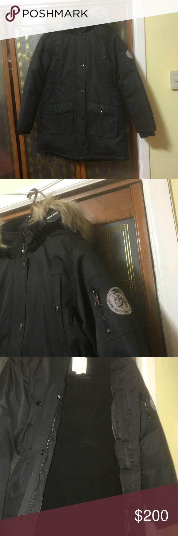 Diesel Boys Diesel coat with detachable hood, hidden inner pocket super warm coat with faux fur hooded trim size with back bottom zipper ,14/16 Diesel Jackets & Coats