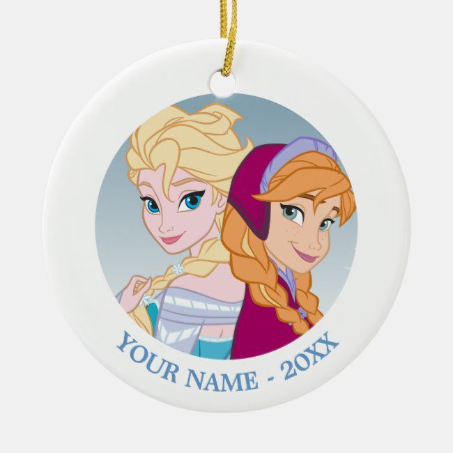 Anna And Elsa Back To Back Add Your Name Ceramic Ornament Zazzle Com Disney Christmas Ornaments Custom Christmas Gifts Disney Frozen Gift