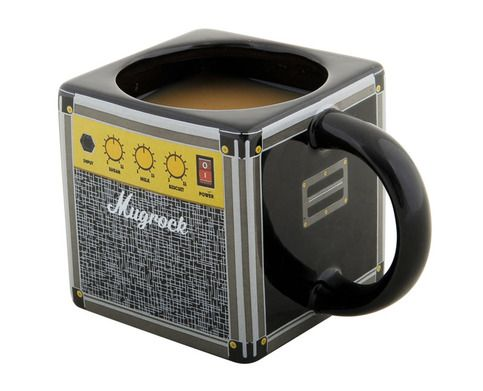 $11 Finally, the caffeine-addicted guitar player has a proper morning drinking vessel, with the Amp Mug.  Ceramic. Designed to look like a vintage amplifier. Goes to 11.