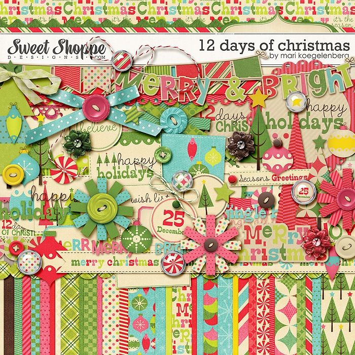 12 Days of Christmas The Kit by Mari Koegelenberg: Kits Must Have, Digital Arts Scrapbooking, Digital Kits, Art Kits, Digi Kits, Mari Kits, Christmas Sweet