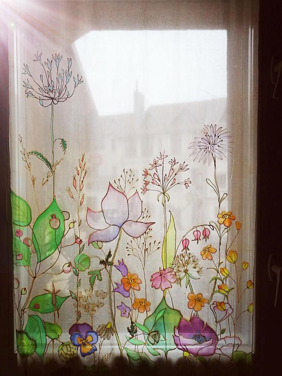 Hand Painted Curtains Field Flowers Silk Screen Wind Flowers Window Silk Panels Meadow Floral Wall Hanging Custom Paintings Painted Curtains Painting Hand Painted Fabric