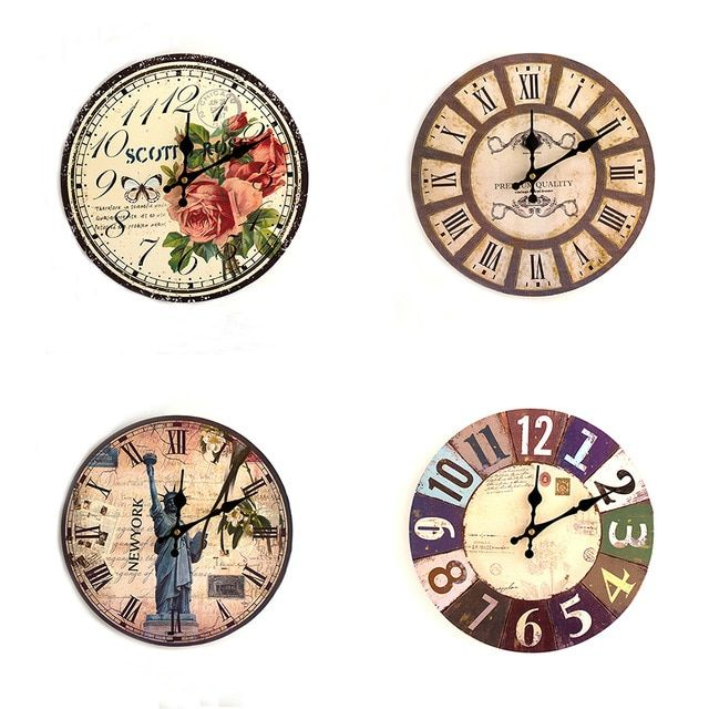 Hot 21 Types Wooden Wall Clock Artistic Silent Retro Creative European Style Round Colorful Vintage Rustic Decorative Antique Review Wall Clock