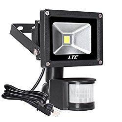 Motion Sensor LED Flood Light,760 Lumens Daylight White,LTE 10W Waterproof Outdoor Security Light with PIR for Home Garden Garage etc