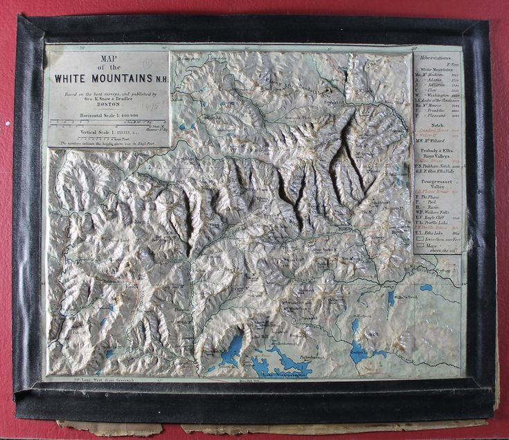 Description: Topographic map of the White Mountains in New Hampshire with heavy relief, many print labels, and hand-colored.   Note: Map with tactile elements for use by the blind.   Creator: George K. Snow & Bradlee, Boston  Date: 1876  Format: map  Digital Identifier: MAPS-00010  Rights: Samuel P. Hayes Research Library, Perkins School for the Blind, Watertown, MA