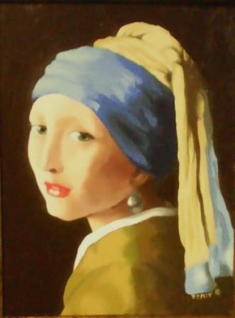 """Oil on board painting after Vermeer's """"Meisjie mit Paarl"""""""