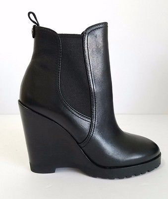 Brand New MICHAEL KORS ✨MSRP $179 Thea Women Black Leather Wedge Boots, Size 7.5