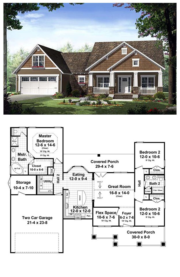 House Plan 55600 | Total living area: 1619 sq ft, 3 bedrooms & 2 bathrooms. This inviting home has craftsman styling with an abundance of upscale features. The front and rear covered porches add great spaces for outdoor entertainment and relaxation. Great small home - when the kids are grown!!!!
