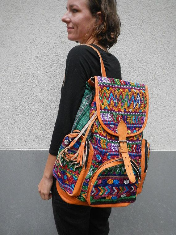 GREEN colourful leather backpack by MayasDeBerlin on Etsy, $89.00