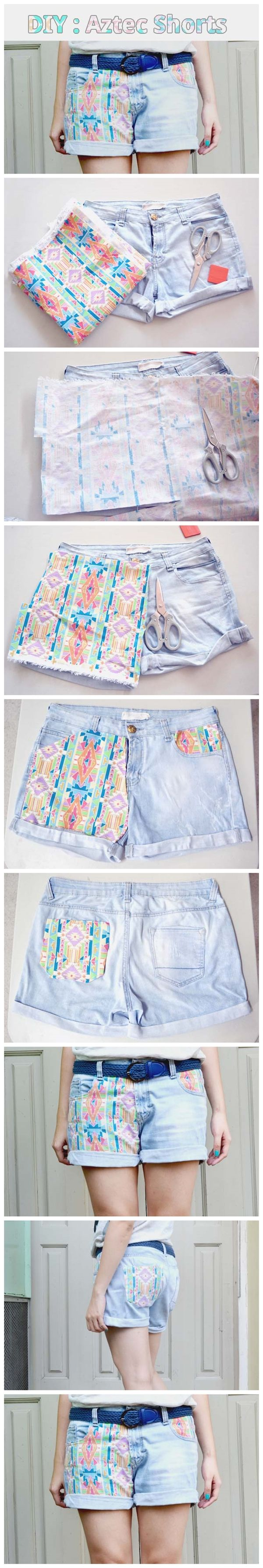 #DIY Aztec #Shorts #Tutorial ...would look awesome with flag fabric