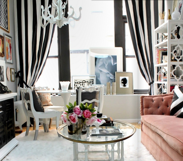 Amazing Living Room: Black And White Living Room Curtains Decor With Black And White  Stripes Curtain And White Chandelier Also Glass Coffee Table And Modern  Sofa ...
