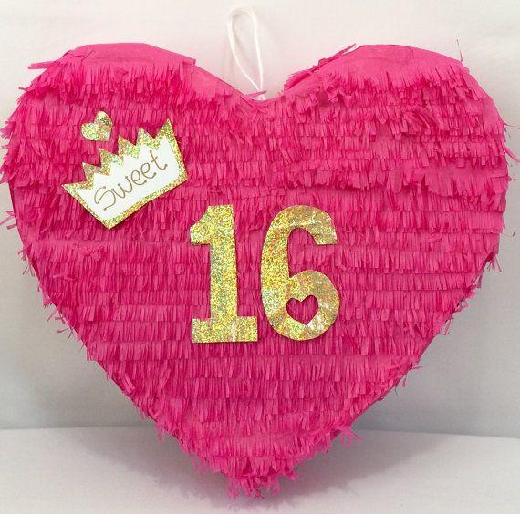 Piñata corazón de dulces dieciséis Customizeable