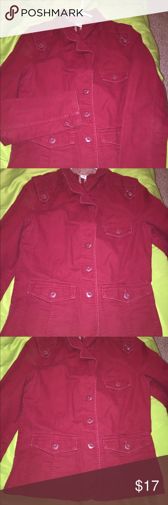 EUC! Old Navy medium Moto coat EUC. Old Navy red Moto coat, size medium. 3 button closure, but on each cuff, button detail on shoulders. Old Navy Jackets & Coats