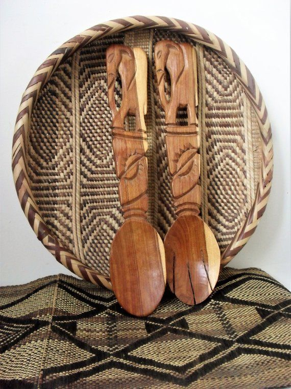 African Carved Wood Salad Servers Pair Salad Servers Wooden Elephant