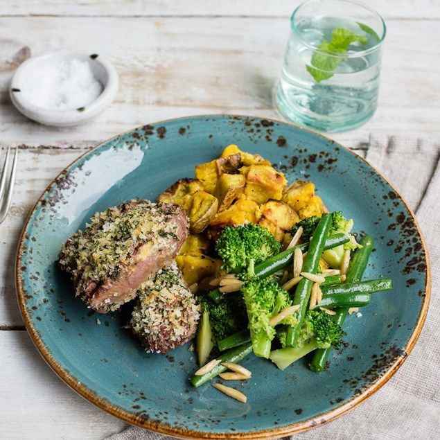 The mint mixed with pankovbreadcrumbs makes for a delicious, crunchy coating to top your beautiful lamb rump.