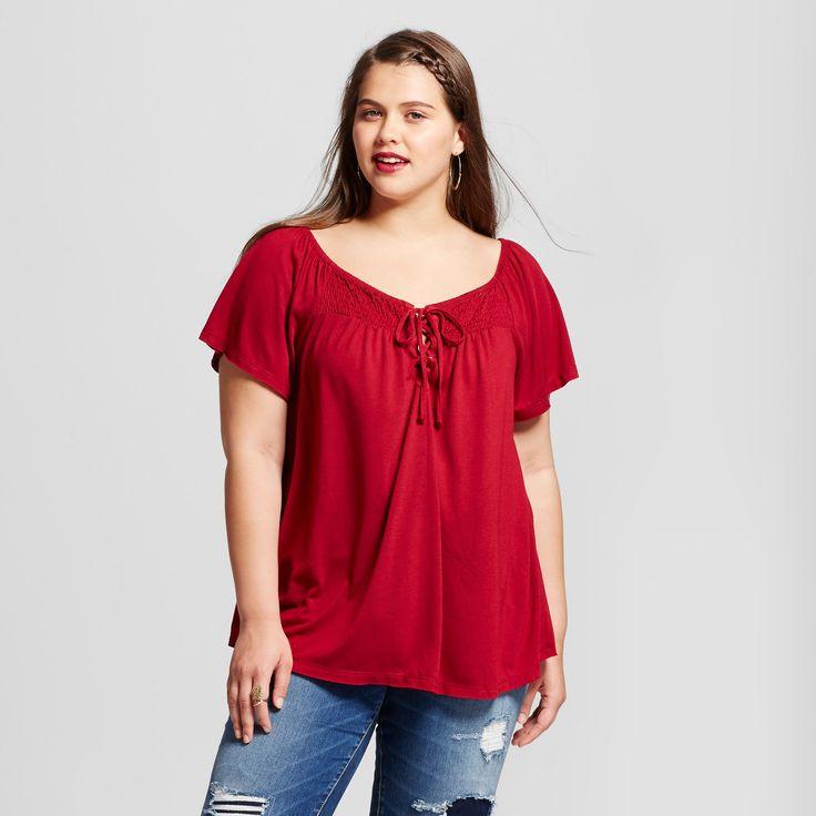 Women's Plus Size Smocked Top - Almost Famous (Juniors) Red 2X