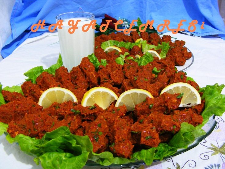The name is ''Cig kofte'' spicy and amazing... if you like it ,look on Google