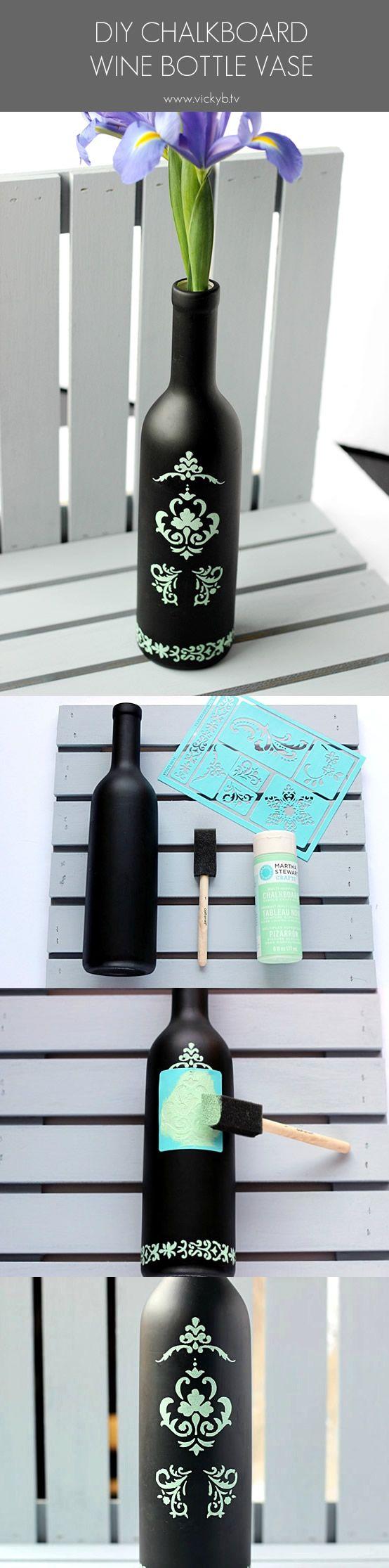 DIY Chalkboard Wine Bottle Vase Tutorial - Transform a chalkboard wine bottle into a pretty accent vase with these easy steps.
