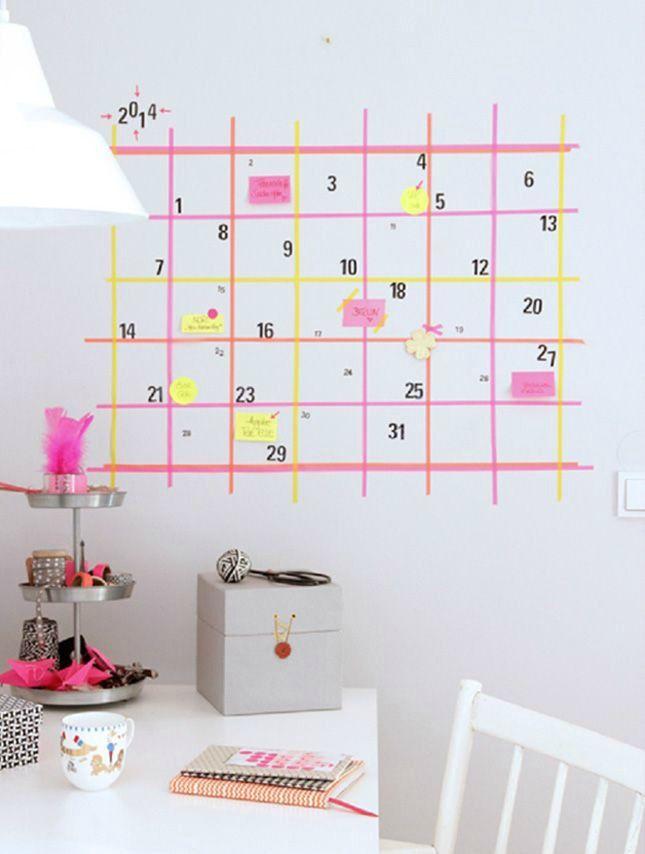 Decorar paredes con washi tape. Calendario en zona de trabajo 600x854