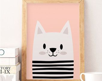Cat print Cute cat Animals print Scandinavian print by NorseKids