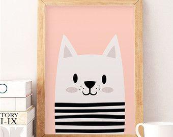 Schattige kat, kleine kat, Scandinavische kwekerij, minimalistische kwekerij, roze kinderkamer, roze print, Safari afdrukken, muur decor kids, kinderen kamer kunst  Gedrukt op Canson 270gsm satin, zuurvrij papier.  Beschikbare maten:  A4 / 210 x 297 mm / 8.3 x 11,7 in A3 / 297 x 420 mm / 11,7 x 16,5 in A2 / 420 x 594 mm / 16,5 x 23,4 in  Alle prints zijn verzonden in een stevige kartonnen koker.  Kleuren macht zitten lichtelijk verschillend als gevolg van verschillende kleur…