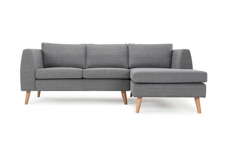 Leon, 3-seater sofa w/ chaiselong right, Vega Steel, Oak Legs