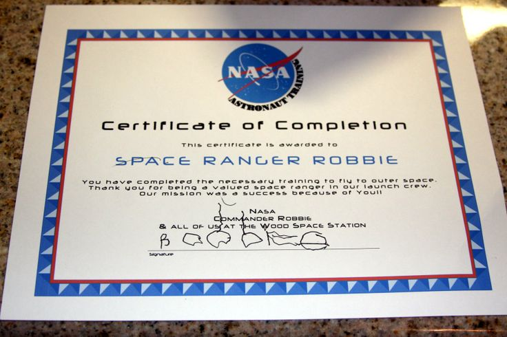 Certificate with NASA - Pics about space