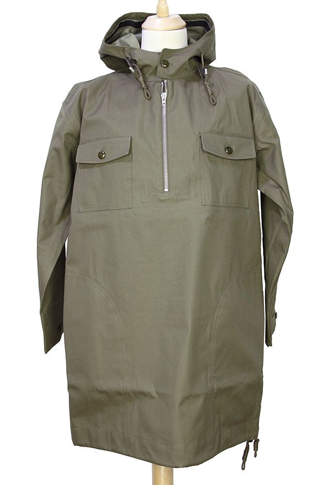 Nigel Cabourn Peak Performance Collaboration waterproof, unisex, hooded Snow Smock in Swedish Army Green | Corniche