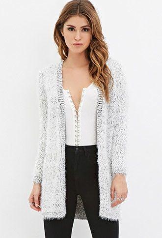 Fuzzy Knit Longline Cardigan   Forever 21 - 2000162940