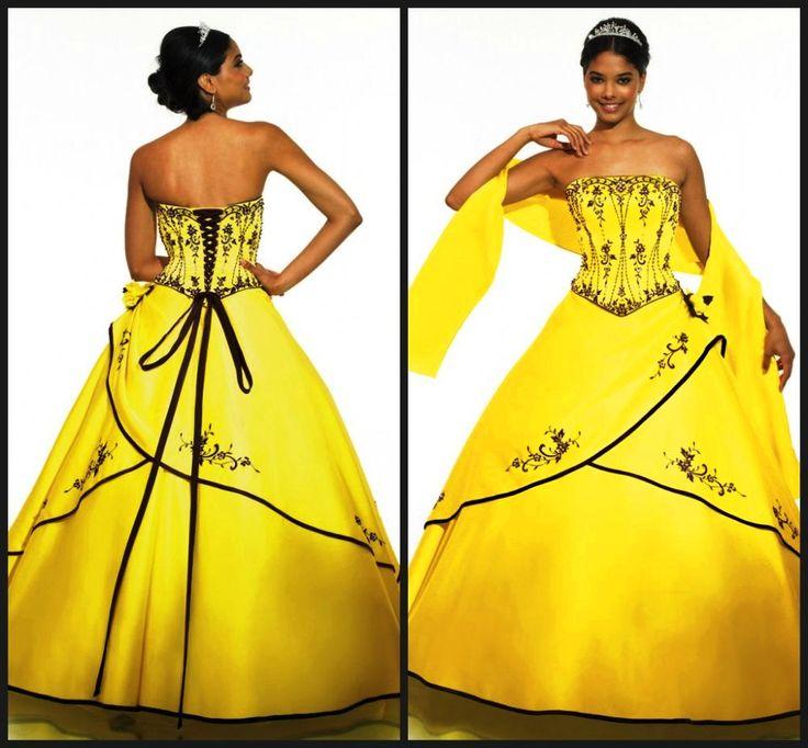 yellow black wedding dress - Hledat Googlem