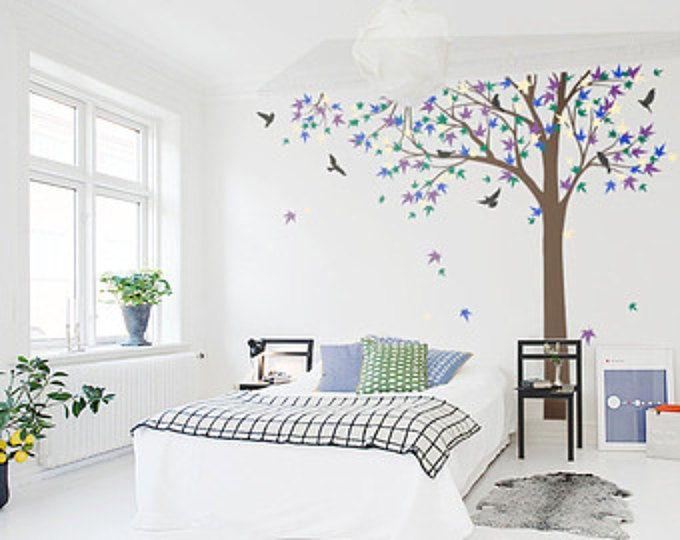 tree wall decal nursery vinyl decal Vinyl Wall Decal bird stickers K024 Large Autumn Tree decal