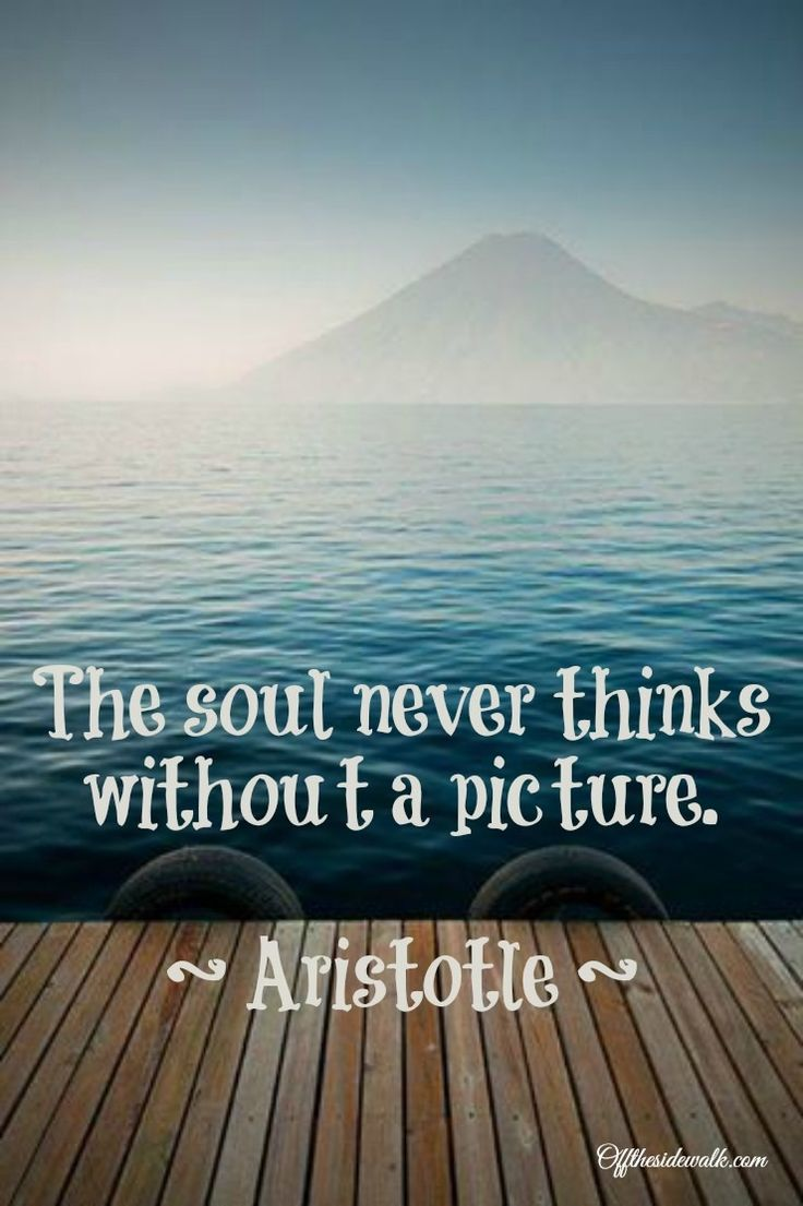 Aristotle quote. The soul never thinks without a picture. Shouldn't it be painting? What do I know??? Great quote!