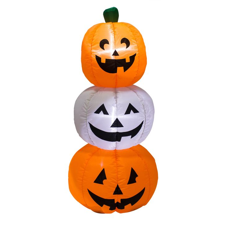 Holiday Living 3.94-ft x 1.64-ft Lighted Pumpkin Stack Halloween Inflatable