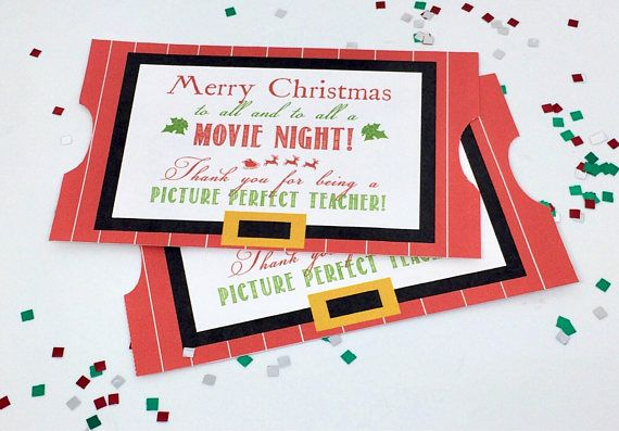 Looking for a great and easy teacher gift for the holidays? These darling printable Christmas gift tags are the ticket! Simply pint tags and attach to a movie gift card or Redbox movie certificate. Add popcorn or movie size candy for a nice touch! Who doesnt love a movie! NOTE: This is