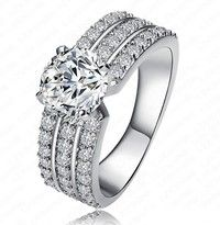 925 Sterling Silver Platinum Plated Diamond Engagement Ring   stones:AAA zircon  material:sterling s