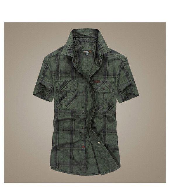Men's short-sleeved plaid shirt summer new fashion England shirt mens slim fit casual shirts short sleeve shirts male 53