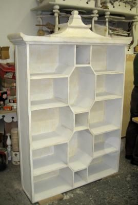 LOVE this pagoda style bookcase | Chinoiserie cabinet | LFF Designs | www.facebook.com/LFFdesigns