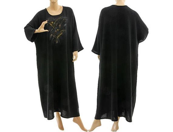Fall winter boho linen maxi dress in black long hand painted