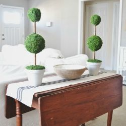See how to make these rustic moss topiaries to bring the outdoors into your home decor just in time for spring!