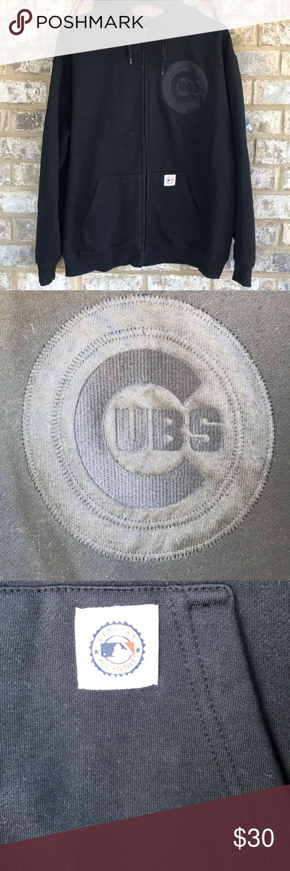 THANKSGIVING SALE 🎉 Chicago Cubs black zip hoodie All black  GENUINE MERCHANDISE  Worn once or twice  Gently loved :)  Size large  UNISEX ITEM 👍🏼 Stitches Shirts Sweatshirts & Hoodies