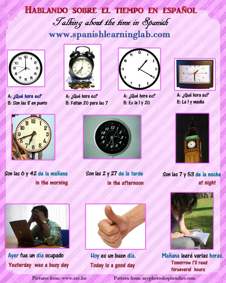 Telling the time in Spanish - ¿Qué hora es?. Asking and telling the time in Spanish (el tiempo/ la hora) may be very useful in different situations, but there are some difference between the way we talk about the time in Spanish and how we do it in English. This picture is part of a complete lesson about the time in Spanish.
