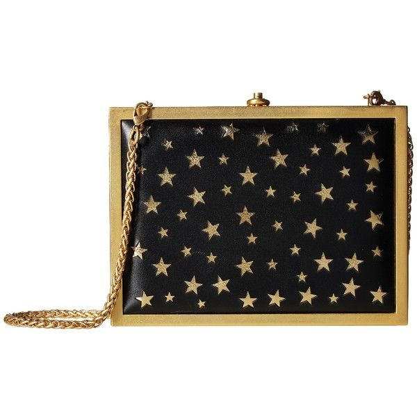 Alice + Olivia Darla Laser Cut Stars Box Clutch (Black/Gold) ($395) ❤ liked on Polyvore featuring bags, handbags, clutches, gold handbags, laser cut handbags, structured handbags, flat purse and star purse