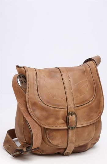 """Barcelona Saddle Bag """"Oil Rub Brown""""  The front pocket in this bag is perfect for concealed carry."""
