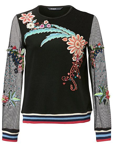 Desigual Sweatshirt black floral print bloemen print zwart