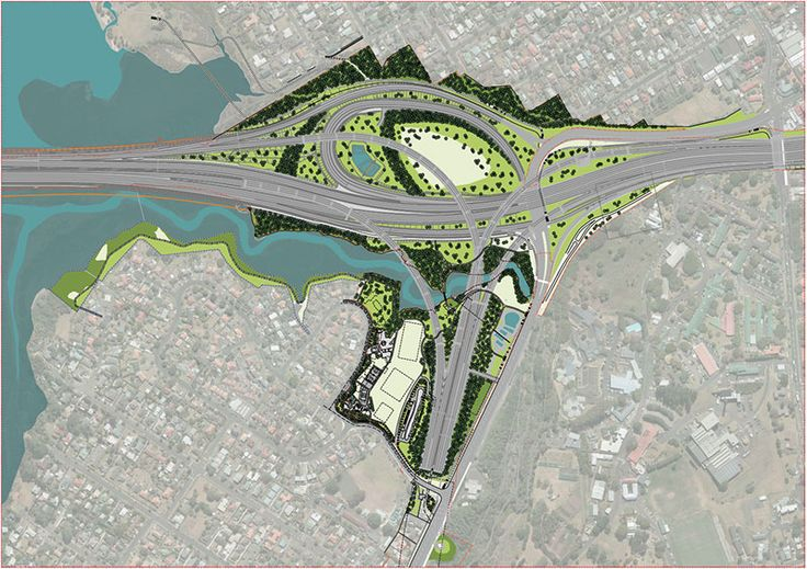 Urban design map north, showing the Great North Road Interchange, where Dennis the self-launching gantry is building four new ramps. Find out more during the virtual field trip for schools running from August 4 at Learnz.org.nz.