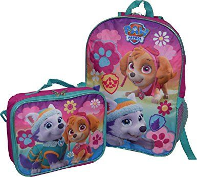 "Nickelodeon Girl Paw Patrol 16"" Backpack With Detachable Matching Lunch Box"